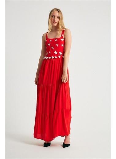 Robin Robin Askılı Püskül Detaylı Elbise Kırmızı Kırmızı
